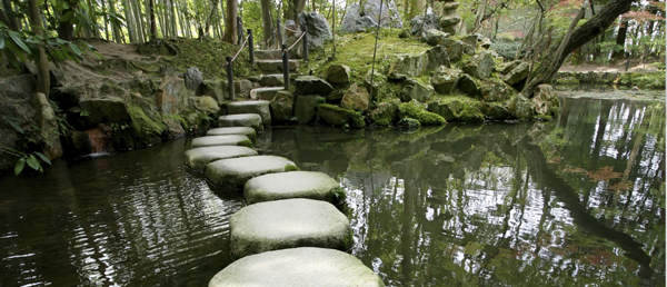 Stone Walkway over a pond
